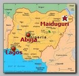 Nigeria, Maiduguri map